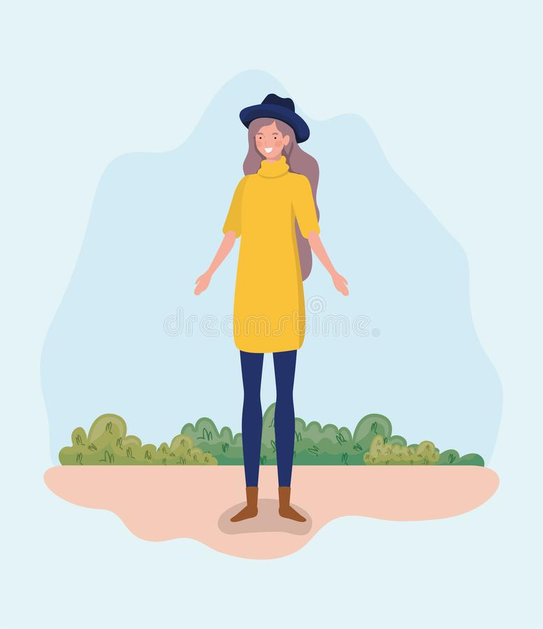 Young woman with tophat standing in the camp. Vector illustration design stock illustration