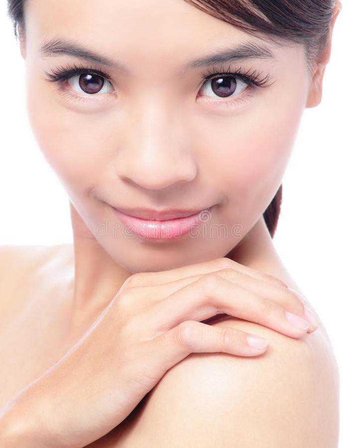 Download Young Woman Touch Shoulders With Smile Face Stock Photo - Image: 23294144