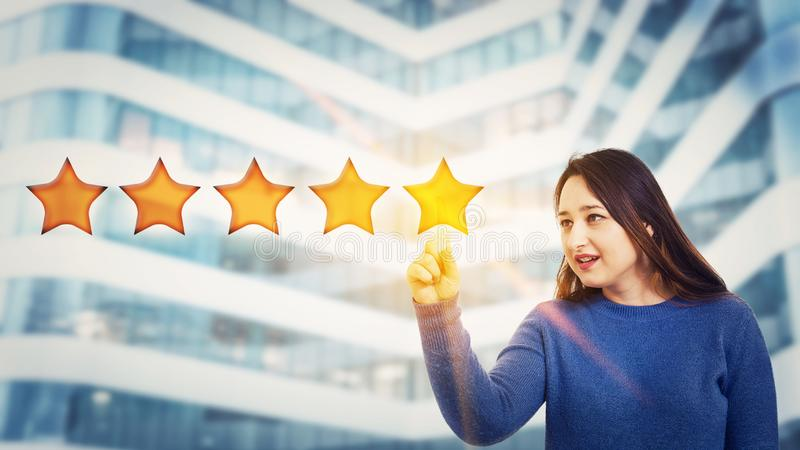 Satisfied client give feedback royalty free stock image