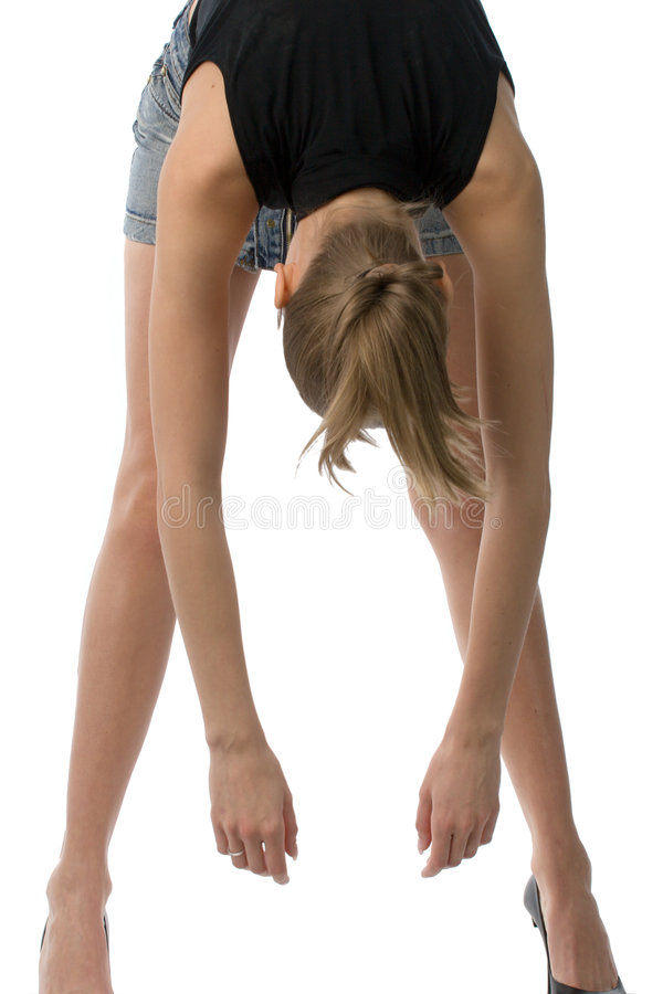 Download Young woman touching toes stock image. Image of stretching - 2872543