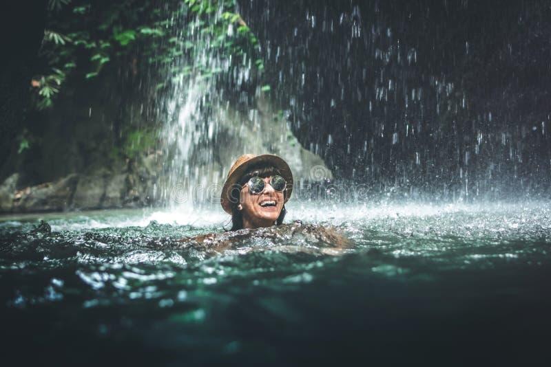 Woman Swimming By Waterfall Stock Photo Image Of Summer Sunbathing 4027794