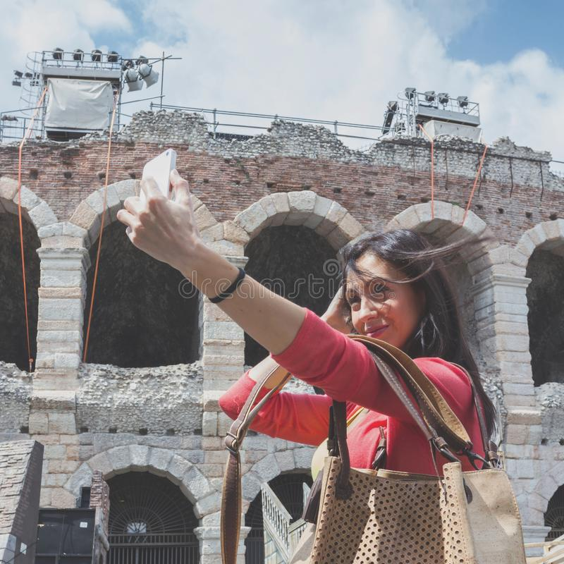 Tourist taking selfie photo stock photography