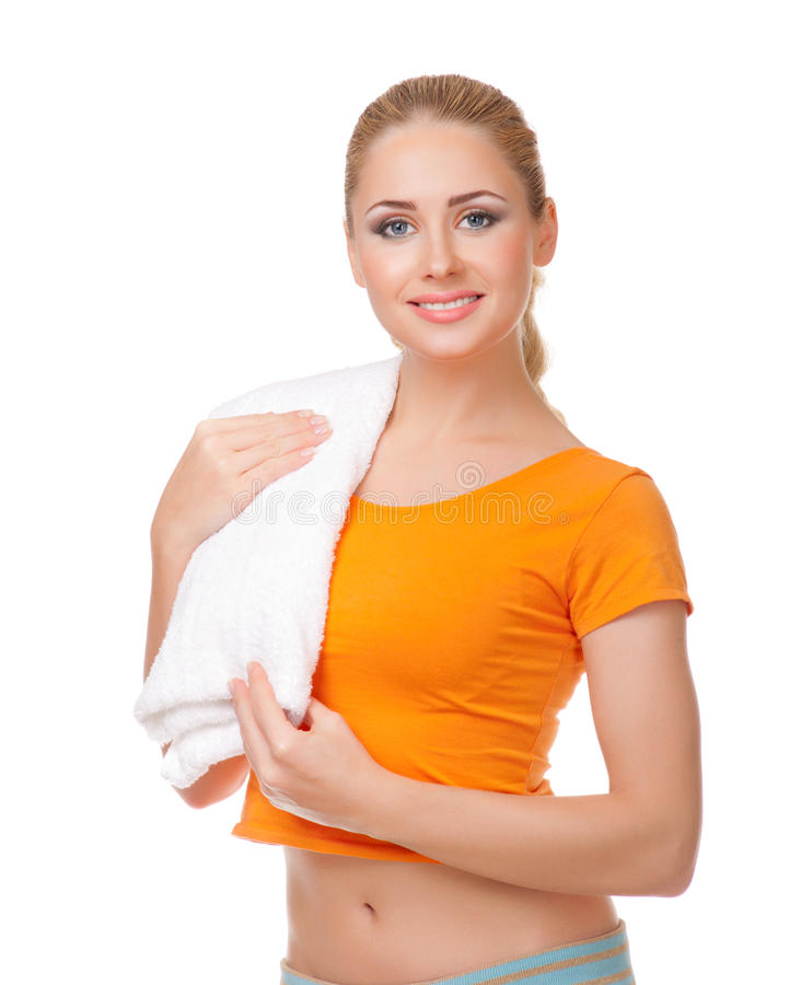 Download Young woman with towel stock image. Image of female, body - 22001515