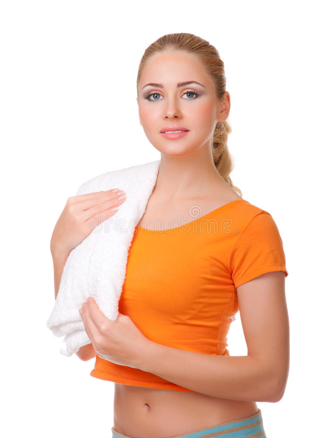 Young woman with towel