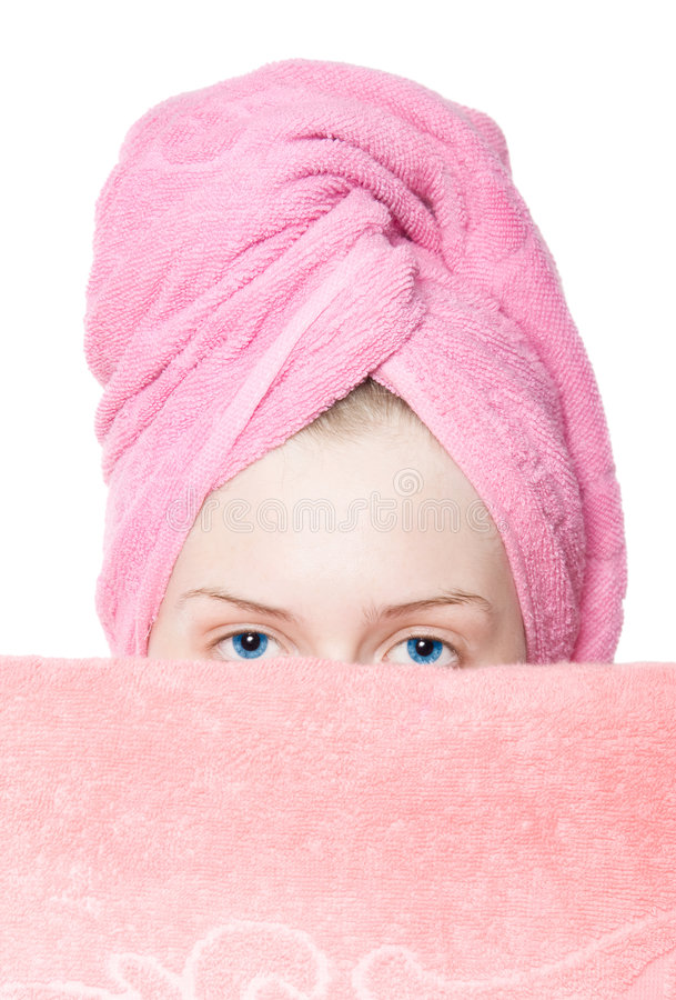 Young woman with towels stock image