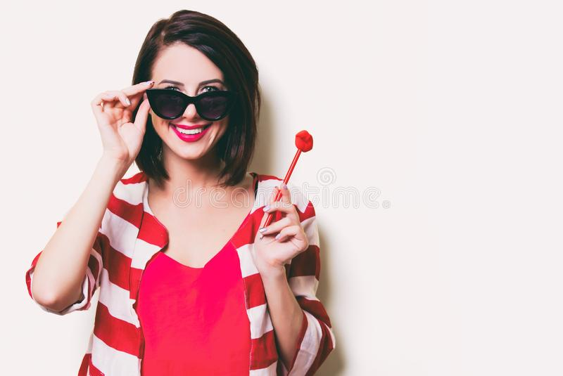 Young woman with toy stock photography