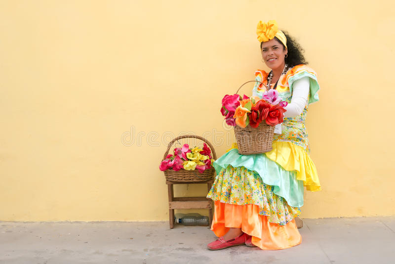 Young woman with a traditional dress in Old Havana stock images