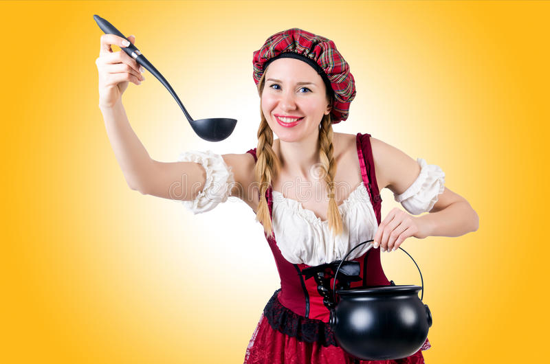 Young woman in traditional german costume royalty free stock images