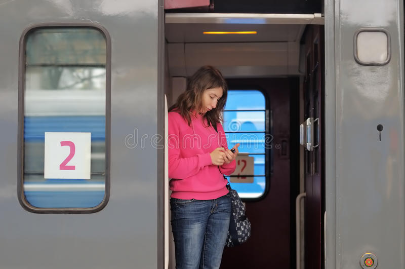 Download Young woman in a train stock photo. Image of passenger - 33982052