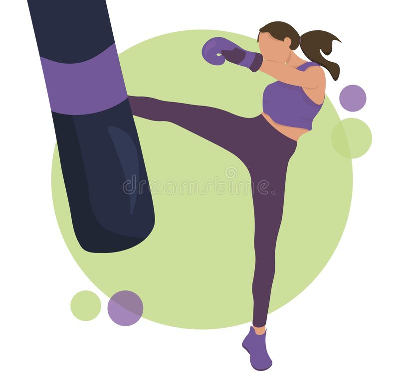 Young Woman Training Kick Boxing in Gym royaltyfri illustrationer