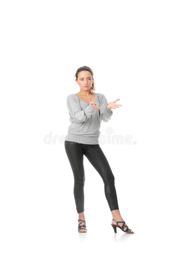 Young woman training rumba dance stock image