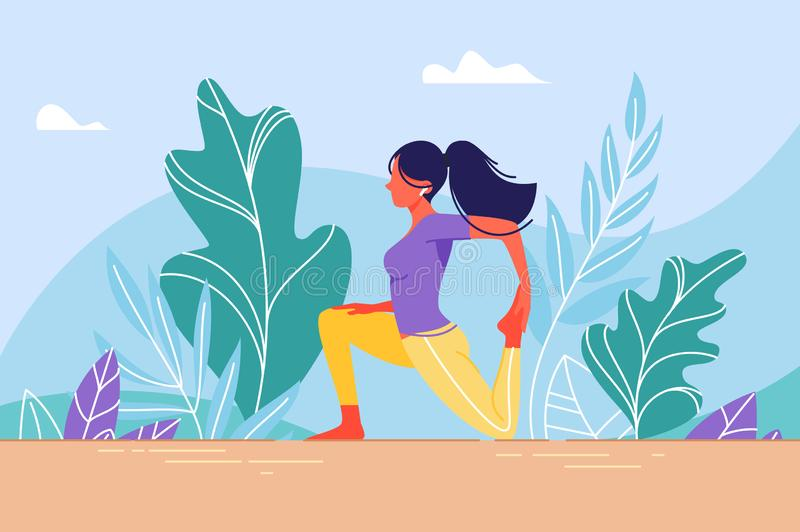 Young woman in training stretching. Concept sport girl, wild nature, warm-up before the main action. Vector illustration stock illustration