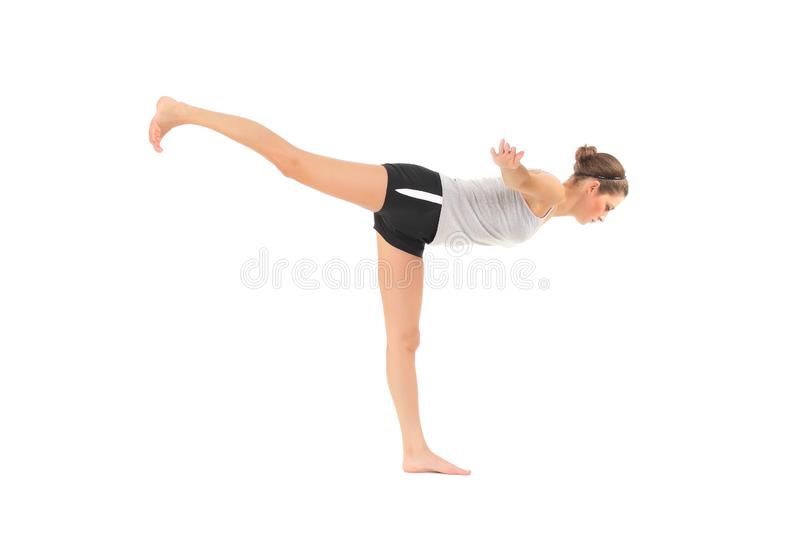 Young woman training yoga royalty free stock photos