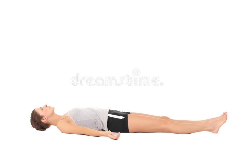 Young woman training yoga stock image