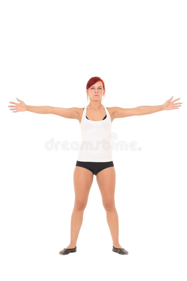 Young woman training yoga royalty free stock photography