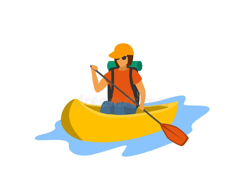Young woman traveling paddling canoe isolated vector vector illustration