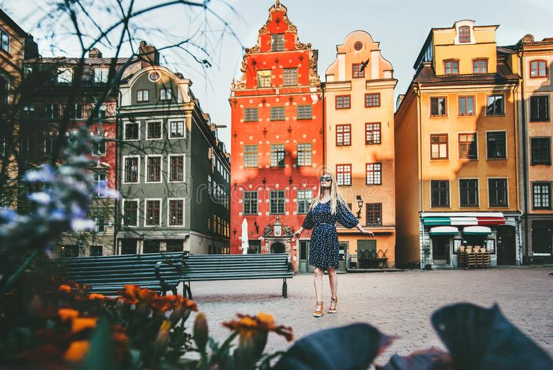 Young woman traveling in Stockholm royalty free stock photography
