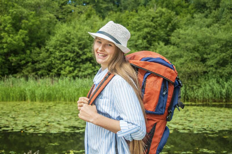 Young woman traveller stock images
