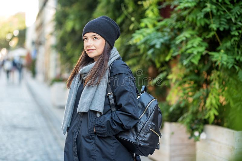 A young woman travels in the fall. Concept lifestyle, autumn, urban royalty free stock photography