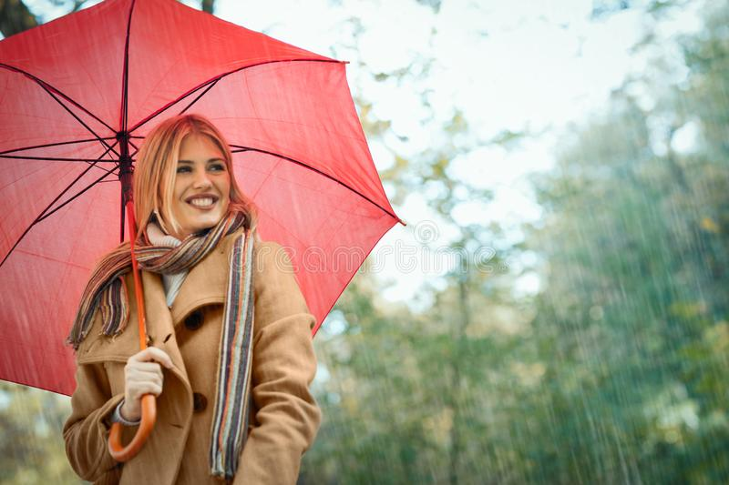 Nice young woman enjoy in rain. I like a rain royalty free stock photos
