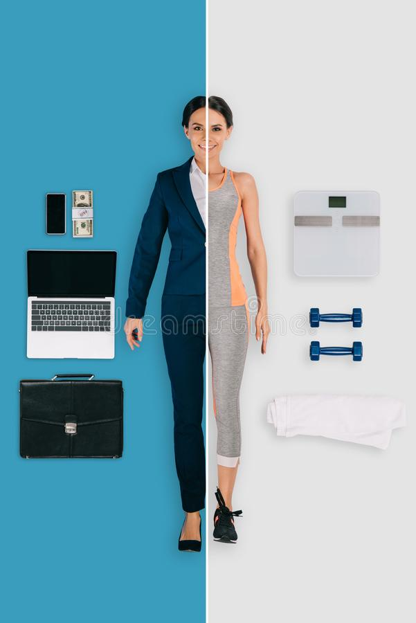 young woman in two occupations of businesswoman and sportswoman royalty free stock photos