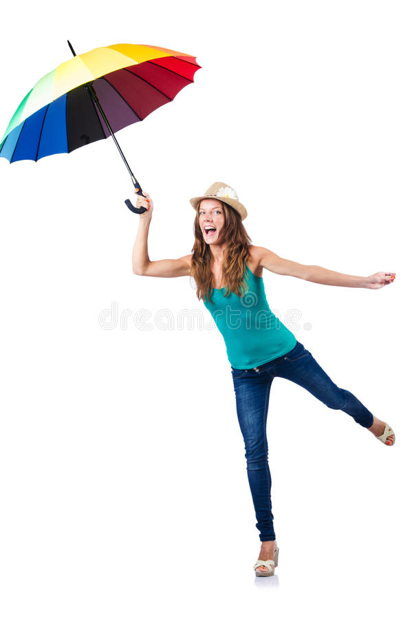 Download Young woman with umbrella stock photo. Image of model - 28351202