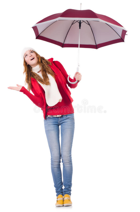 Download Young woman with umbrella stock image. Image of figure - 36976999