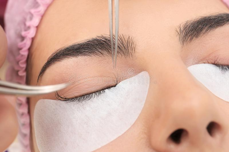 Young woman undergoing eyelash extensions procedure, royalty free stock photo