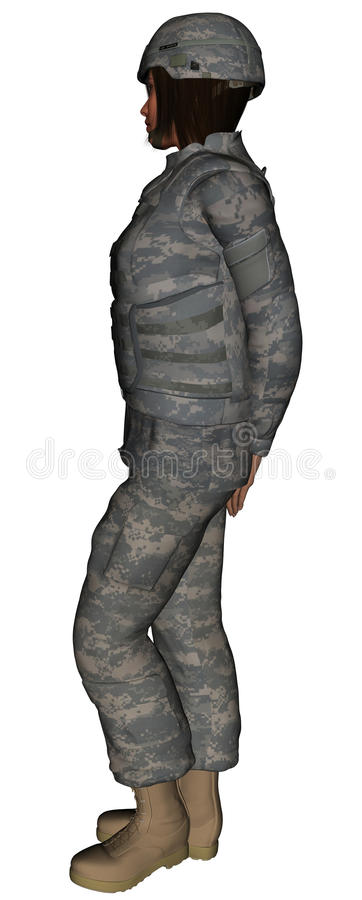 Young woman in US Army Uniform stock illustration