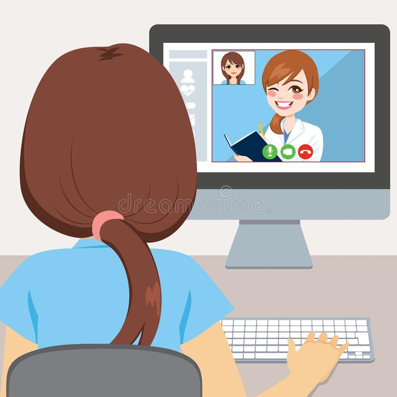 Online Doctor Consultation. Young woman using computer to talk with her doctor online consultation concept stock illustration