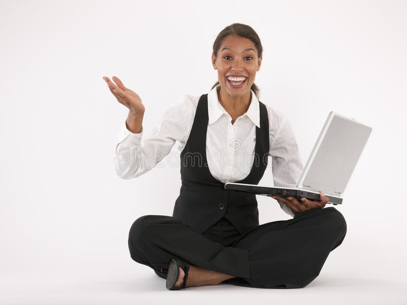 Download Young Woman Using Laptop stock photo. Image of cheerful - 12093842