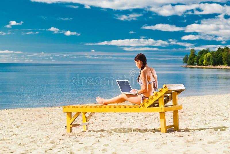 Download Young woman using laptop stock image. Image of blue, bikini - 21104351