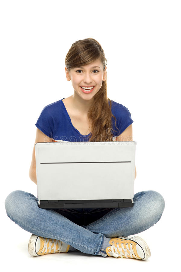 Download Young woman using laptop stock image. Image of joyful - 23006093
