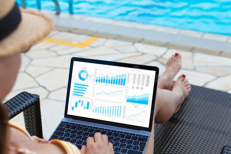 Woman Using Laptop Pool Stock Images - Download 621 Royalty