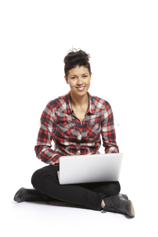 Young Woman Using Laptop Smiling Royalty Free Stock Photos
