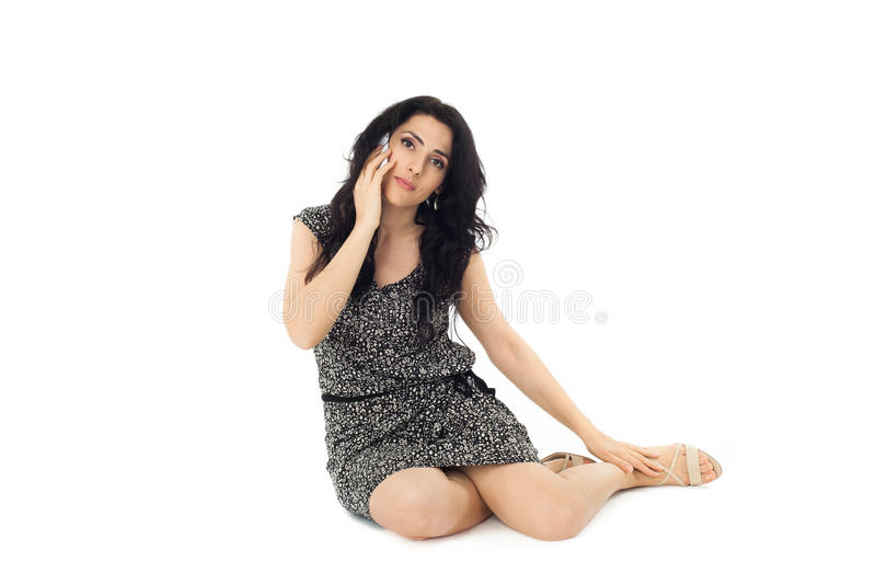Young woman using phone royalty free stock images