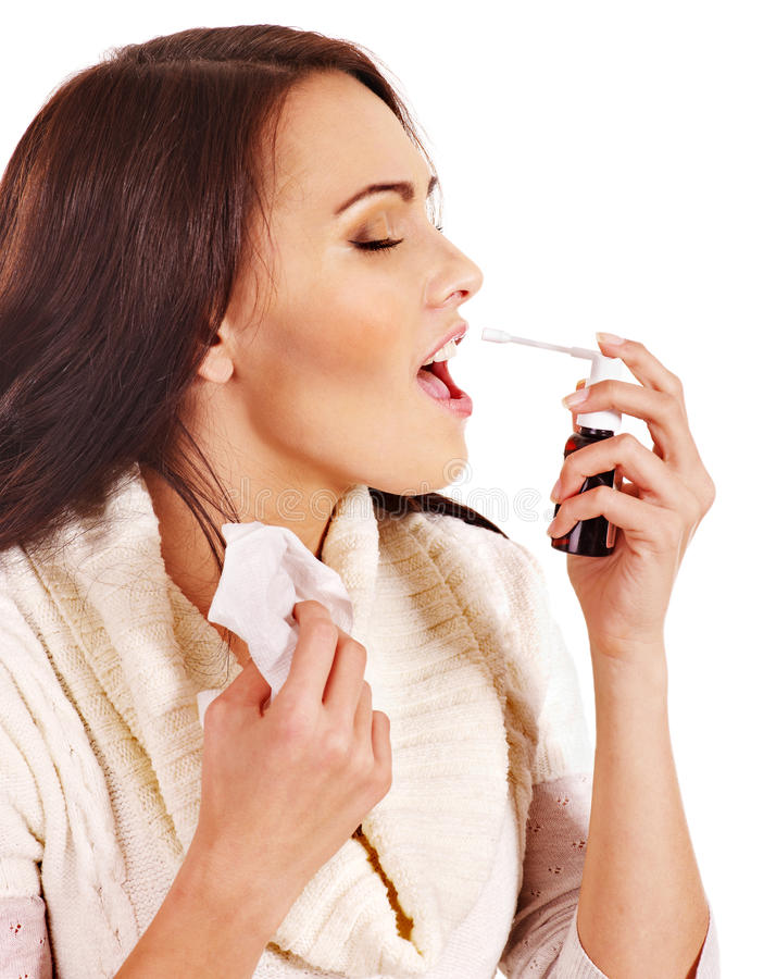 Young Woman Using Throat Spray. Stock Photography