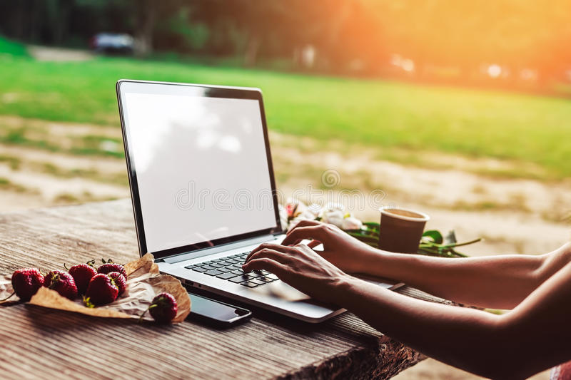 Young woman using and typing laptop computer at rough wooden table with coffee cup, strawberries, bouquet of peonies flowers,. Smartphone. Freelancer working in royalty free stock photography