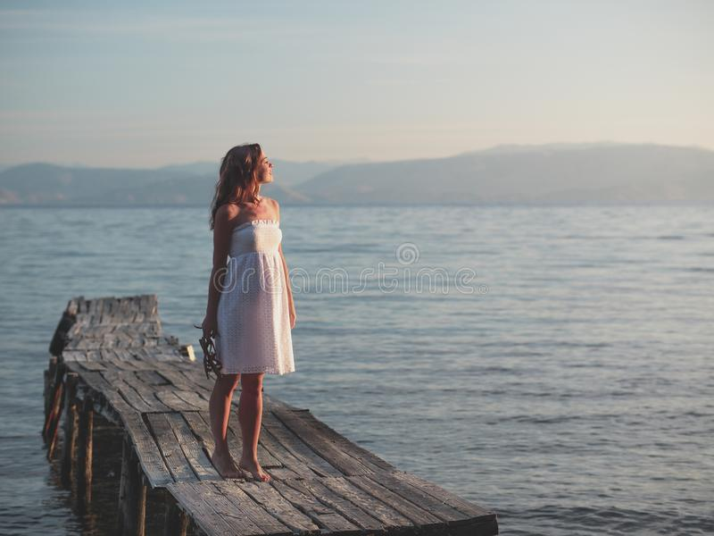 Young woman on vacation royalty free stock image