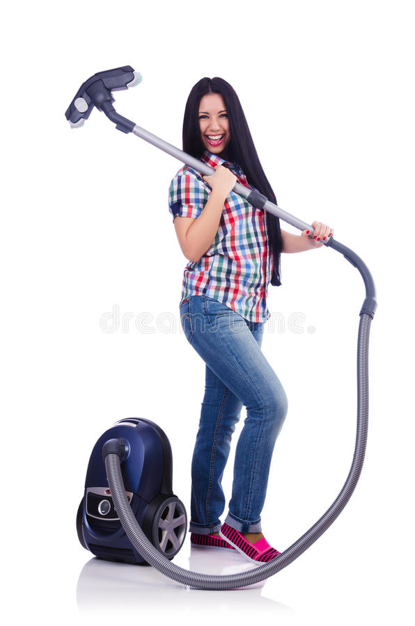 Download Young Woman With Vacuum Cleaner Stock Photo - Image: 31601308