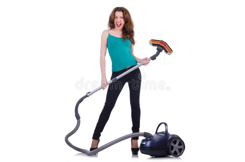 Download Young Woman With Vacuum Cleaner Stock Image - Image: 32586939