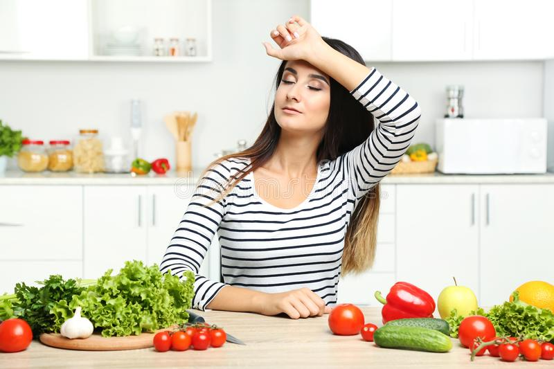 Young woman with vegetables royalty free stock photos