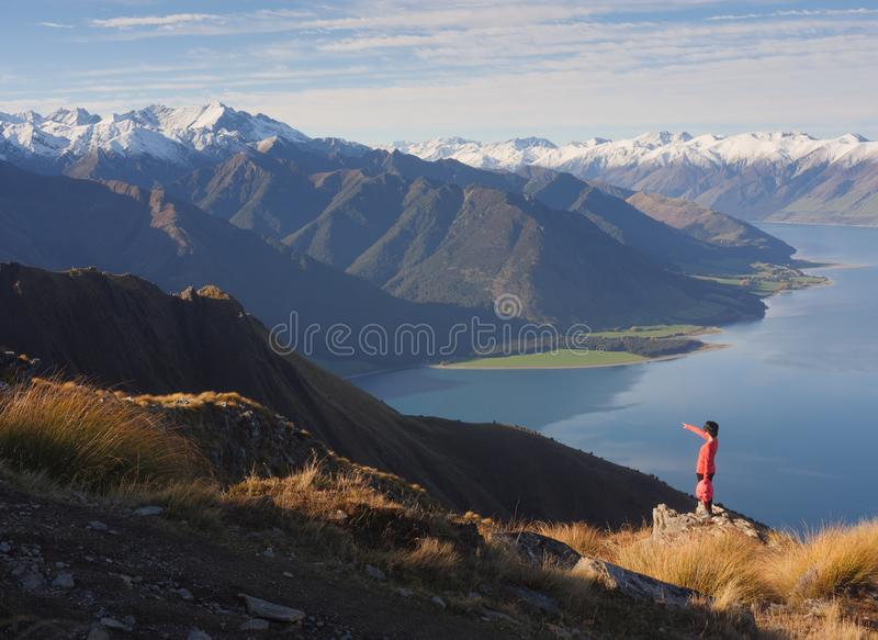 Young woman viewing mountain landscape royalty free stock photo