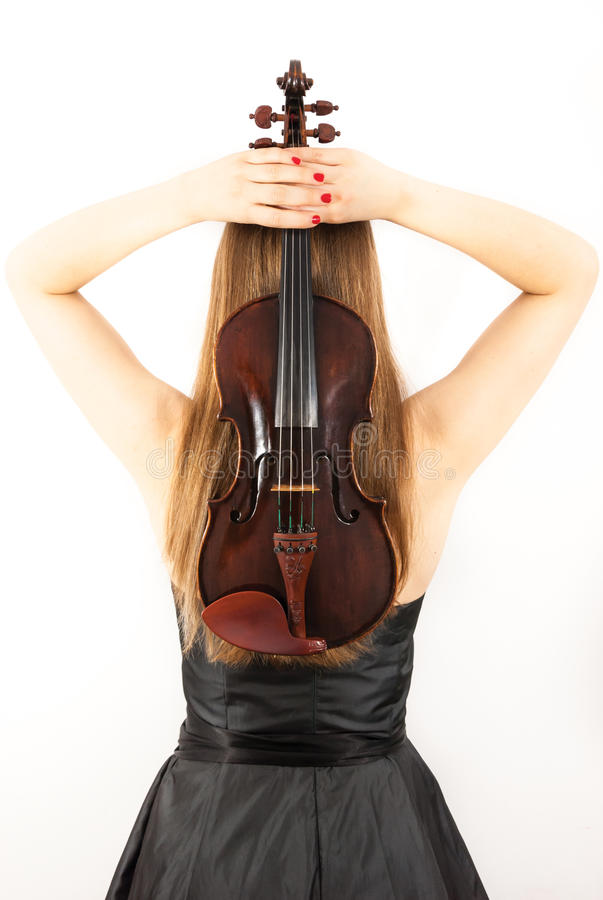 A young woman with a violin. Fiddle on a white background stock images
