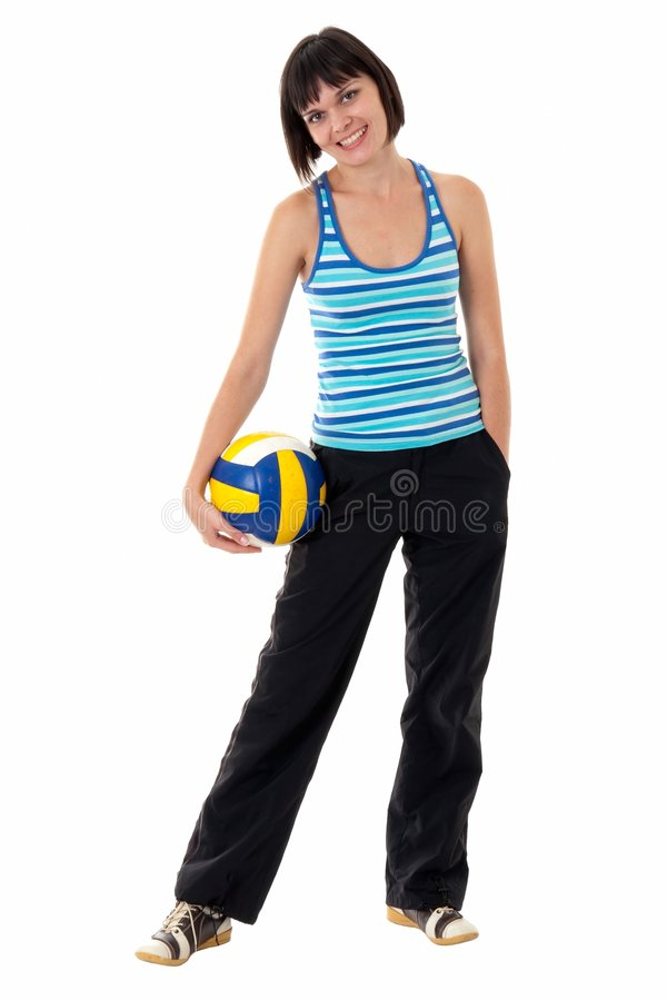 Young woman with volleyball royalty free stock photo