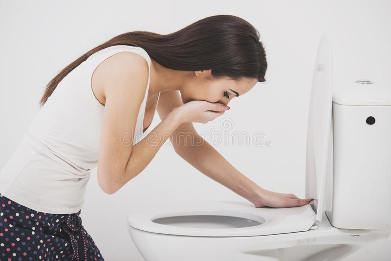 Woman in toilet stock image