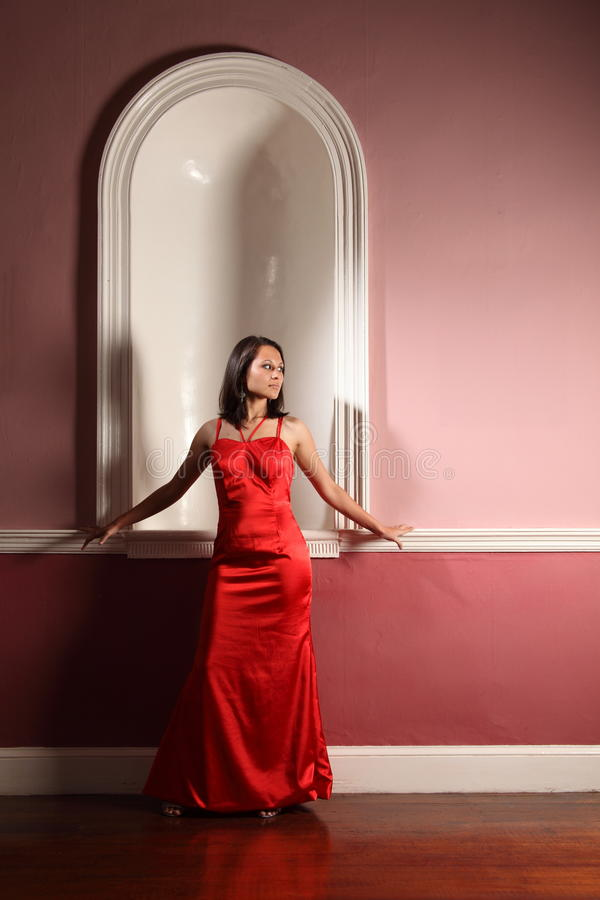 Download Young Woman Waiting Beautiful And Elegant In Red Stock Image - Image: 16656107