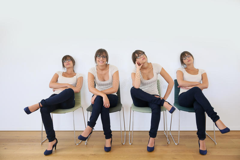 Young woman in waiting room royalty free stock images