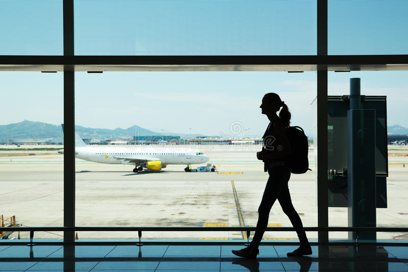 Download Young Woman Walking At Airport Stock Image - Image: 32601613