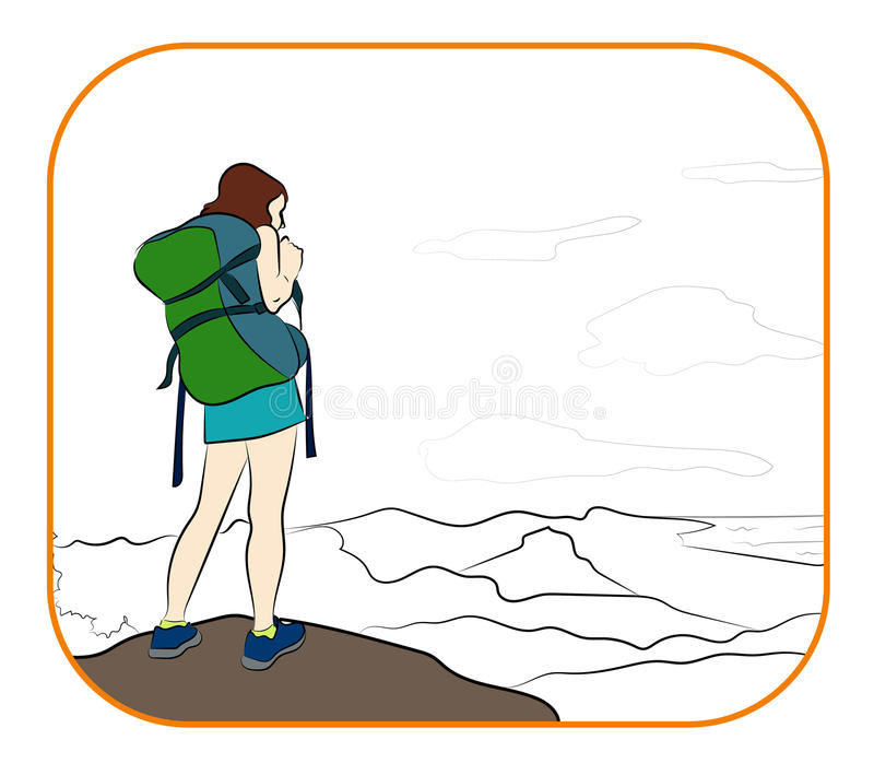 Young woman walking alone on a mountain trail. Girl looks at a horizon. Adventure travel. Summer vacation royalty free illustration